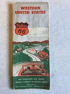 Vintage Phillips 66 Road Map Western United States | eBay