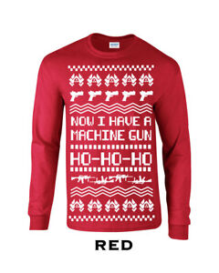 Details about 533 Machine Gun Ho Ho Long Sleeve funny ugly christmas sweater new gift holiday