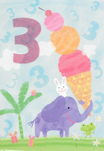 Image Is Loading HAPPY 3RD BIRTHDAY CARD ELEPHANT AND ICE CREAM
