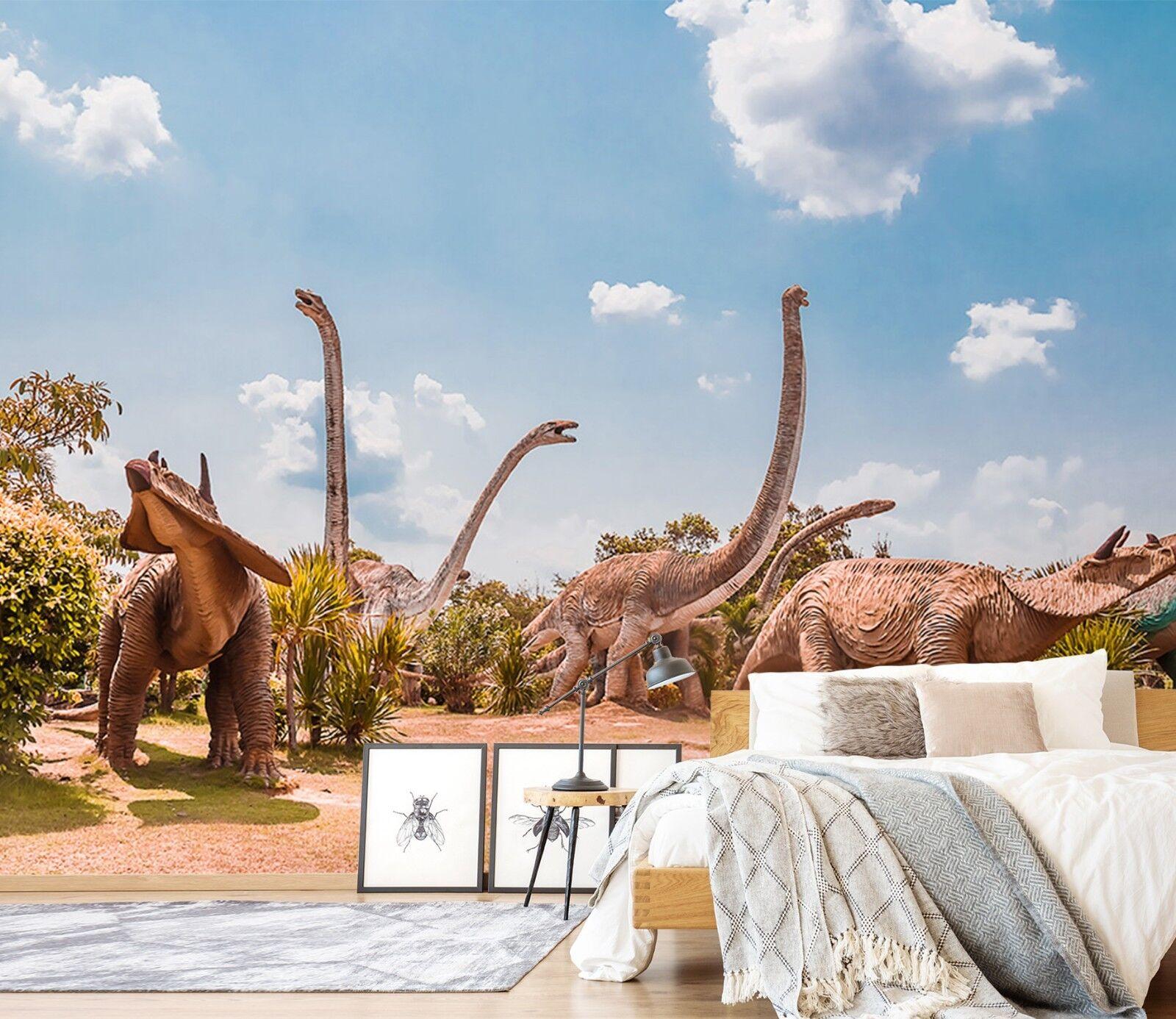 3D Tropisch Natur Dinosaurier 2 Tapete Wandgemälde Tapete Tapeten Familie Kinde