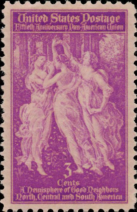 1940 3c Pan American Union, The Three Graces, 50th Scot