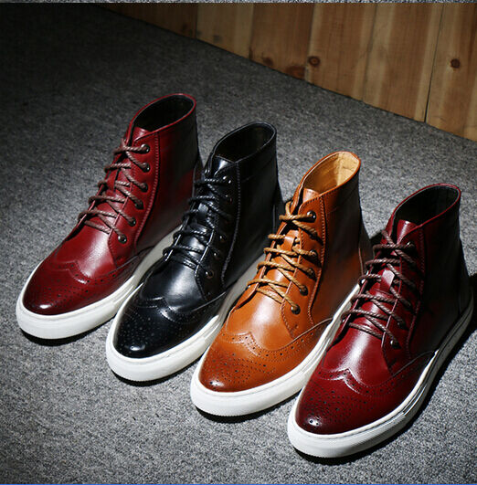 Men Brogues Wingtip Lace Up Carved Flat Ghic Punk Ankle Boot Oxfords Dress Shoes