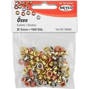 Eyelets-Osen-rund-4-mm-innen-7-mm-aussen-100-Stueck-silber-gold-kupfer-Meyco-66896