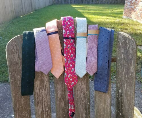 Roundtree /& Yorke slim skinny neck tie knit floral Cremieux New Penguin