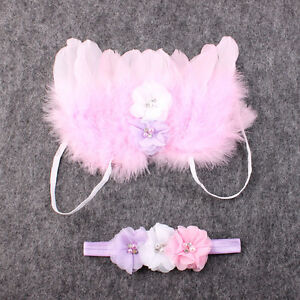 Baby-Girl-Infant-Fancy-Feather-ANGEL-WING-Photography-PROP-Flower-headband