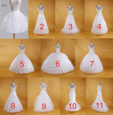 1//2 Hoops Bridal Petticoat Wedding Prom Dress Underskirt Crinoline Slip Skirt UK