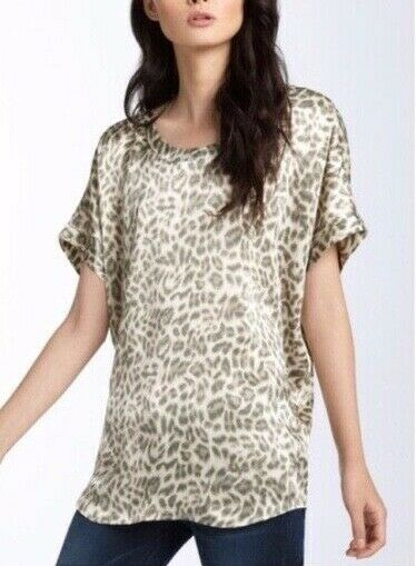 NWT  JOIE XS Joann C Silk Animal Print Blouse Tunic Top off Weiß