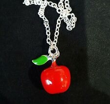 Snow White Poisoned Apple Charm Pendant Silver Necklace Disney Childrens Kitsch