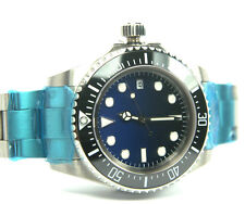 PARNIS 48MM TO CROWN CERAMIC BEZEL STERILE DIAL AUTOMATIC MVT DEEP BLUE WATCH