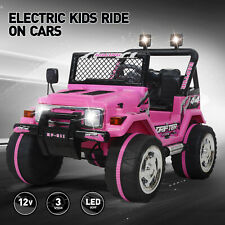Ride On Car Kids Jeep 12V Electric Battery Remote Control MP3 LED Light Pink