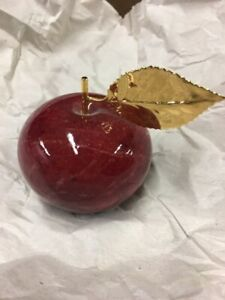 Alabaster Stone Marble Red Apple Paperweight Lifesize Fruit Gold Leaf Stem Merchandise & Memorabilia