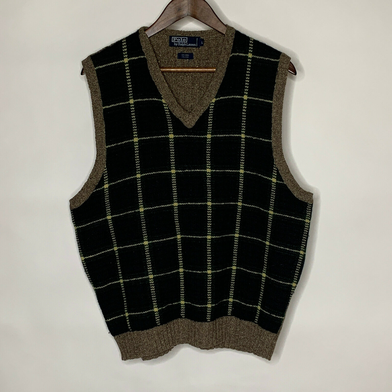 Polo by Ralph Lauren Green Plaid Sweater Vest Woo… - image 2