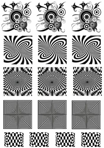 "Optical Illusions  5/"" X 3-1//2/"" Card Black Fused Glass Decals 16CC683"