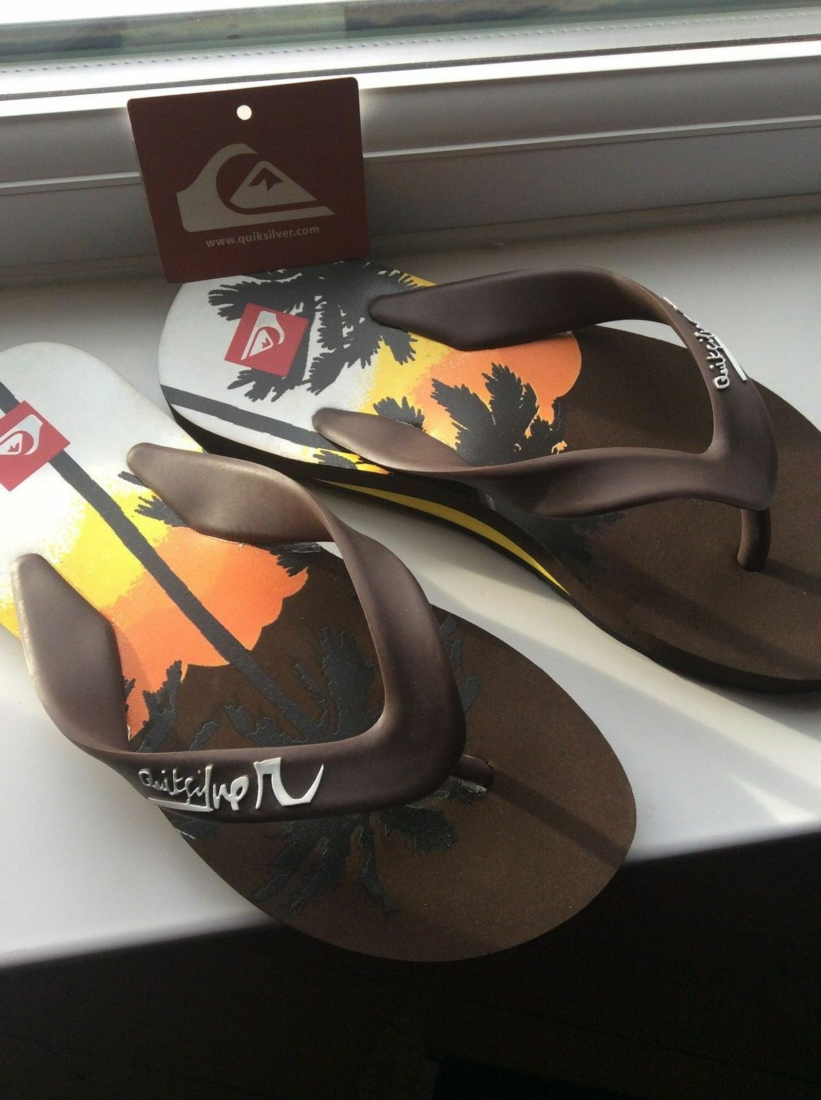 Quiksilver Sandals Little Palmtree Flip Flops Sandals Quiksilver Beach Toe Post Brown Orange Yellow db9def