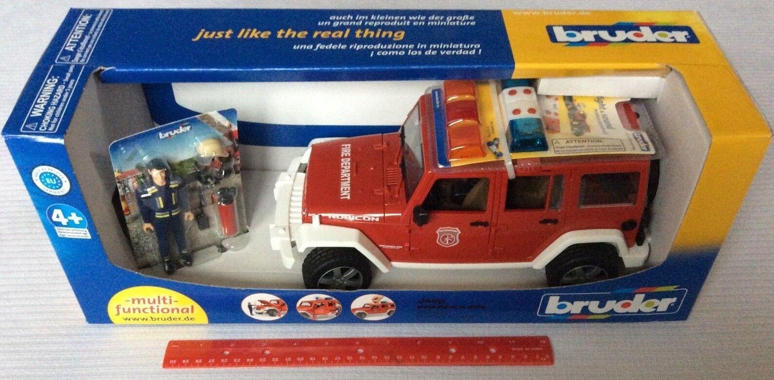 Bruder  02528 Jeep Wrangler Rubicon Fire Dept. Véhicule avec figure 2528 1 16 NEUF