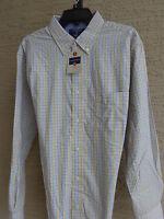 Mens Saddlebred L/s Cotton Blend Button Front Shirt Yellow & Blue Checks L