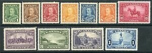 Weeda Canada 217-227 VF mint H 1935 KGV Pictorial issue complete set CV $195