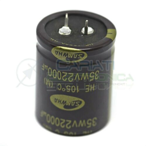 Capacitor 22000uf 35v 105 ° C Electrolytic 35x45mm Snap in SAMWHA Step 10mm