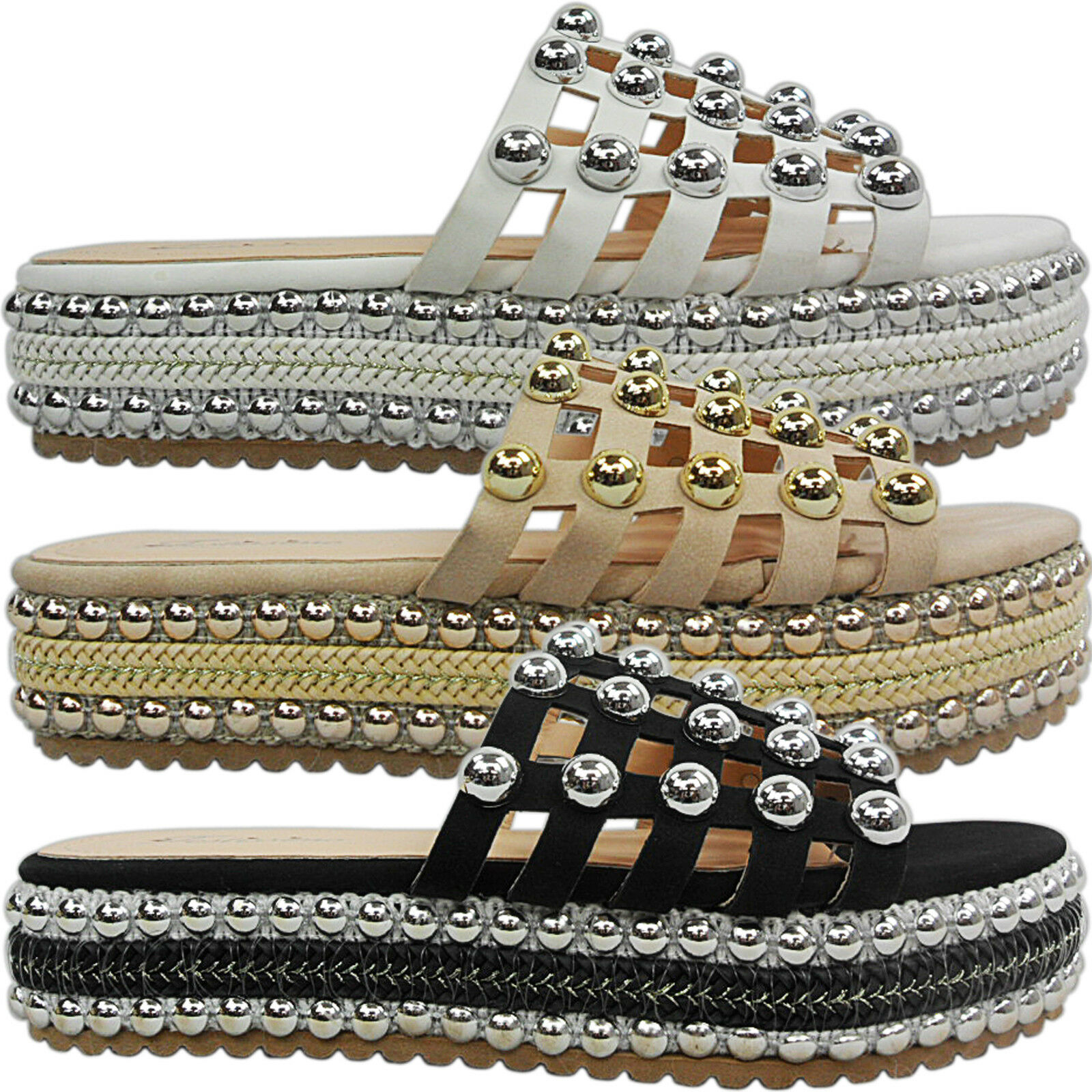 NEW WOMENS LOW HEEL FLATFORMS CAGED STUDDED ESPADRILLES SLIP ON MULES SANDALS