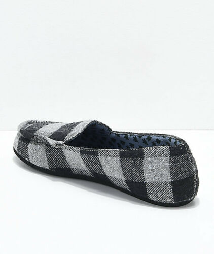 WOMEN/'S Gigi Apres Grey Plaid slip on Slippers  NEW $35