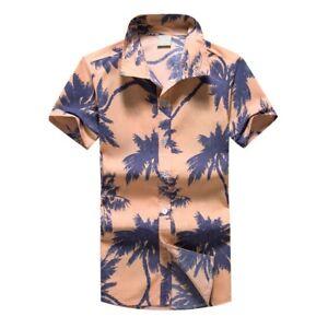 Men-Hawaiian-Print-Summer-Short-T-Shirt-Sports-Beach-Quick-Dry-Blouse-Top-Blouse