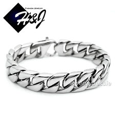 "9""MEN's Stainless Steel HEAVY WIDE 14x4mm Silver Cuban Curb Chain Bracelet*B59"