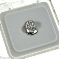 Diamond-shape Grillz Silver Tone Cap Iced-out Single Tooth Bling Teeth Grills