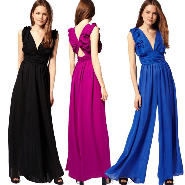 Plus Size XS-XXL Party Ruffel Jumpsuit Chiffon Wide Leg Pants Low Cut Maxi Dress