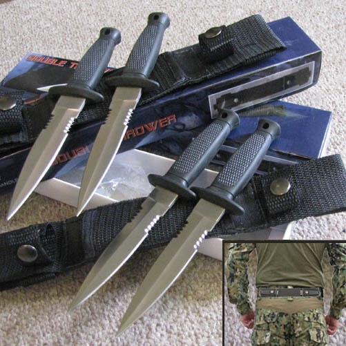 Set of 4) Military Style Throwing Boot Knives w/Waist Sheaths - Double Troubles