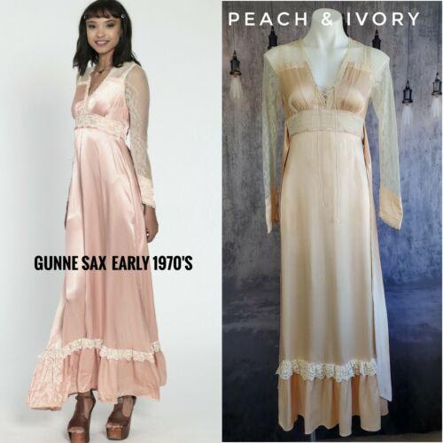 Gunne Sax satin beauty prairie 1970s dress - image 1