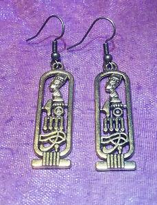 Egyptian Cartouche Goldplated Pierced Dangle Earrings, Nefertiti Horus Ma'at