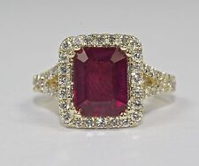 14k Yellow Gold Emerald Cut Red Ruby And Round White Diamond Halo Ring Size 5