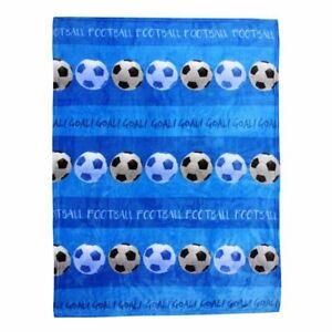 Football-Couverture-Polaire-Enfants-Souple-Haute-Qualite-Bleu