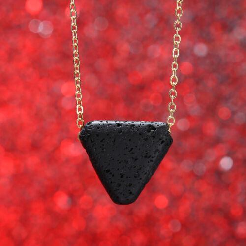 2018 Black Lava stone Triangle necklace Essential Oil Diffuser Necklace