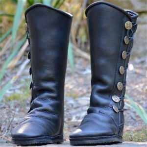 Casual-Womens-Ladies-Lace-Up-Knee-High-Boots-Leather-Flat-Riding-Boot-Shoes-Size