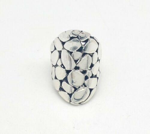 New 925 Sterling Silver 28/'mm Glossy Pebble Dot Collection Dome Band Ring Size 6
