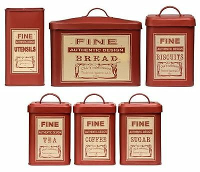 Whitby Red Tea Coffee Sugar Biscuit Bread Utensil Kitchen Storage Canister Set