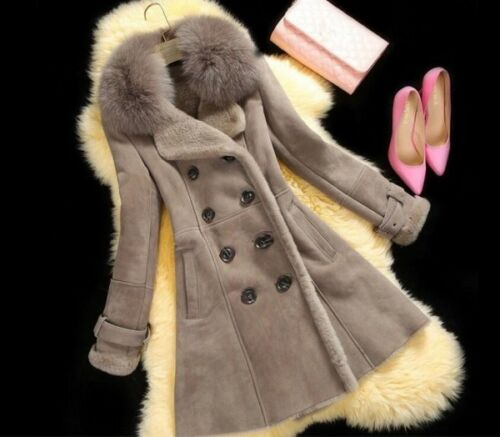 Faux Outwear Coat Sz breasted Fur Collar Long Kvinder uld Varm Double Jacket 2017 PxqgwEAvx