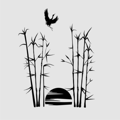Sunset in Jungle BIG SIZES Reusable Stencil Wall Decor Orient Exotic Bambo3