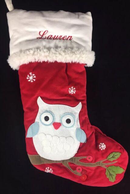 Pottery Barn Kids Christmas Woodland Velvet Owl Stocking Lauren New Red Plush For Sale Online