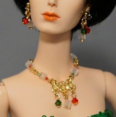 """Rhinestone Necklace and Earring Jewelry Set fits 16/"""" Tonner dolls 082B"""