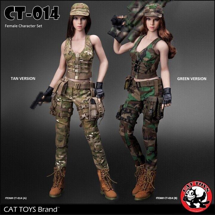 1 6 CAT TOYS CT014 Female Combat Suit Clothes Set W Head Model Fit 12'' Body