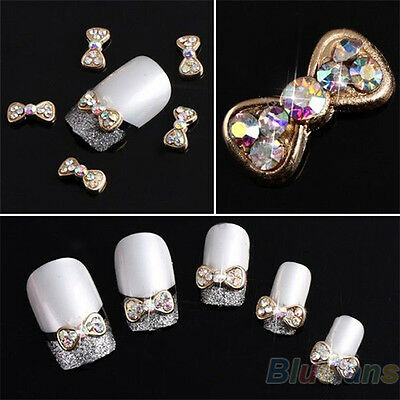 10pcs Cool 3D Charm Alloy Acrylic Bow Tie Colorful Nail Art Glitters DIY B97U