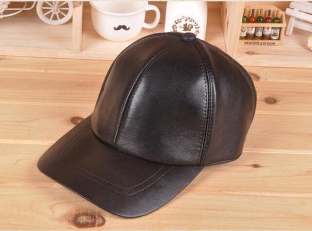 2016 New design Men's Genuine Leather Black Adjust Casual Sport Baseball Cap