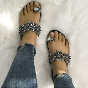 Summer-Women-Rhinestone-Sandals-Flat-Beach-Slippers-Crystal-Strappy-Shoes-3-Type