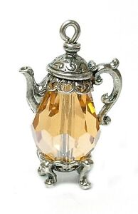 VINTAGE SILVER /& CHAMPAGNE CRYSTAL COFFEE POT CHARM