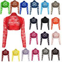Womens Open Lace Bolero Long Sleeve Shrug Top Ladies Sizes UK 8-16