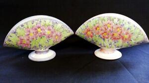 2 x Vintage Sevilla Porcelain Fan Vases Hand Painted   FREE Delivery UK*