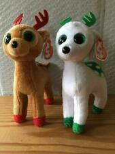 """New with Tag Ty Beanie Babies Tinsel /& Peppermint Reindeer Lot of 2 6/"""" Plush"""