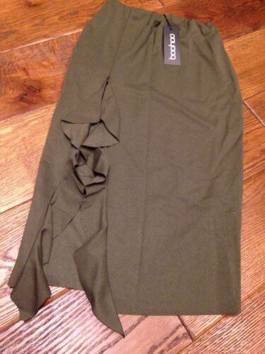 Taglia Split Skirt Khaki Midi 10 Boohoo New Brand Pencil Ruffle Yq5np